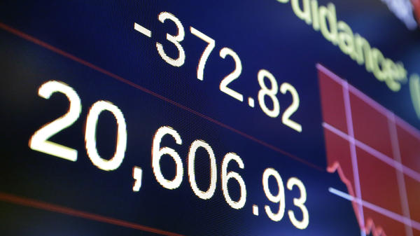 The Dow Jones industrial average and other stock indexes fell sharply Wednesday, as investors worried about political turmoil in Washington.