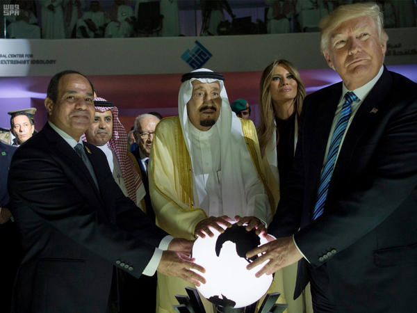 (From left) Egyptian President Abdel Fattah al-Sissi, Saudi King Salman, U.S. first lady Melania Trump and President Trump visit a new Global Center for Combating Extremist Ideology, in Riyadh, Saudi Arabia, on Sunday.