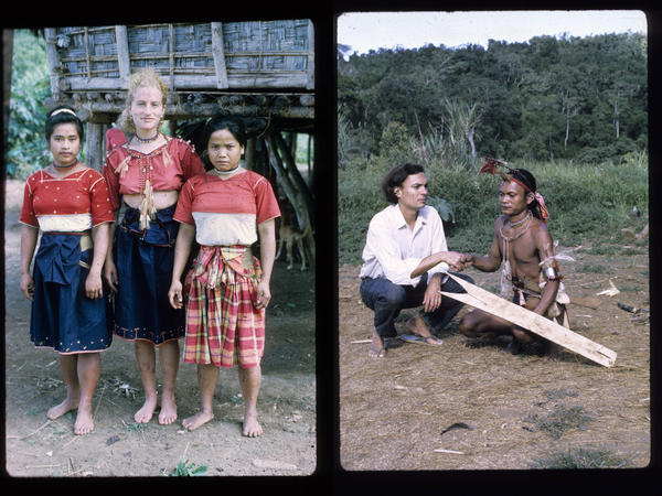 Renato took lots of photos while living in the rain forest, including one of Shelly with two Ilongot teenage girls. At right, Renato with Tukbaw, a close friend.