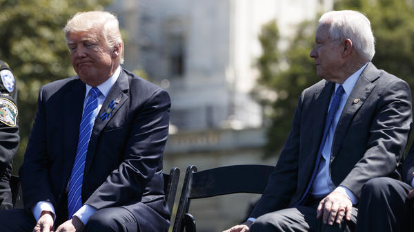 Attorney General Jeff Sessions and President Trump attend the 36th annual National Peace Officers Memorial Service on May 15 on Capitol Hill in Washington.