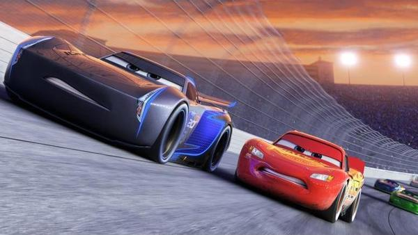Jackson Storm (Armie Hammer) and Lightning McQueen (Owen Wilson) in <em>Cars.</em>