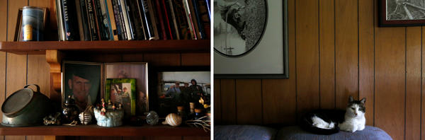 Family photos can be found tucked away on shelves and adorning the walls in the Peaveys' home, along with the family cat.