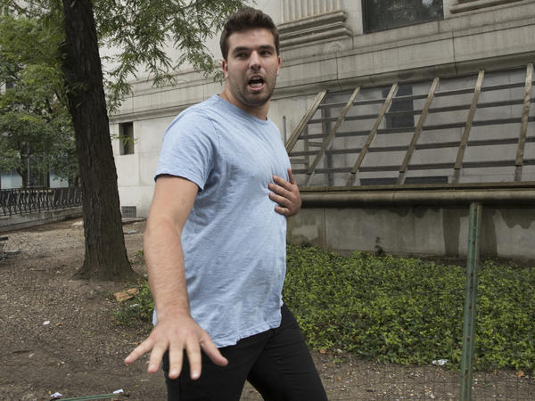Billy McFarland leaves federal court after his arraignment in New York on Saturday. McFarland is charged with scheming to defraud investors in his company, Fyre Media.