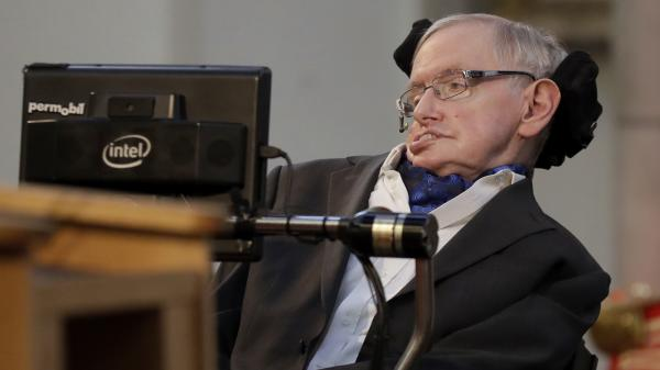 Britain's Professor Stephen Hawking delivers a keynote speech as he receives the Honorary Freedom of the City of London during a ceremony at the Guildhall in the City of London, March 6, 2017.