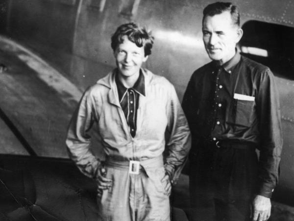 Earhart with Noonan in Natal, Brazil, in June 1937.