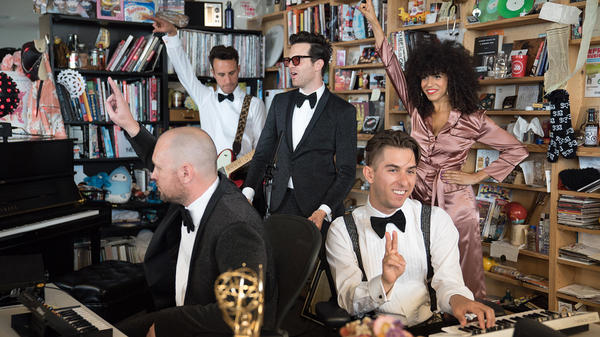 Tuxedo performs a Tiny Desk Concert on May 20th, 2017. (Claire Harbage/NPR)