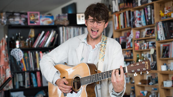 Albin Lee Meldau performs a Tiny Desk Concert on June 12, 2017. (Claire Harbage/NPR)
