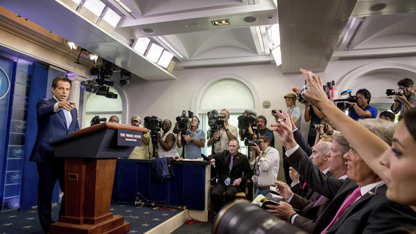 Anthony Scaramucci, incoming White House communications director, takes a question from the media during the daily press briefing at the White House, Friday, July 21, 2017.