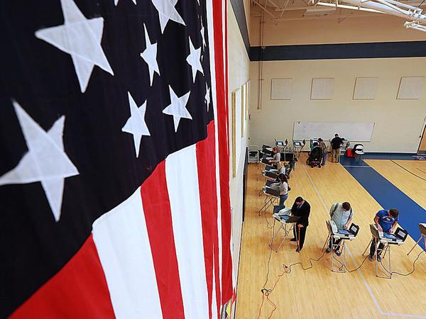 Voters at an elementary school in Provo, Utah on Nov. 8, 2016.