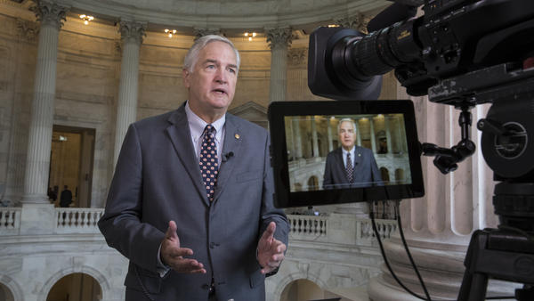 Sen. Luther Strange, R-Ala., responds to questions during a TV news interview on Capitol Hill in Washington.
