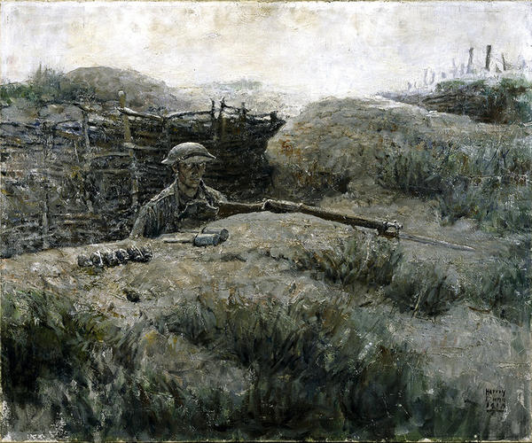 "Harvey Dunn's 1918 oil painting<em> The Sentry</em> shows a soldier coming up from the trenches. ""You see in his eyes what would later become known as the thousand-yard stare,"" says exhibit curator Peter Jakab."