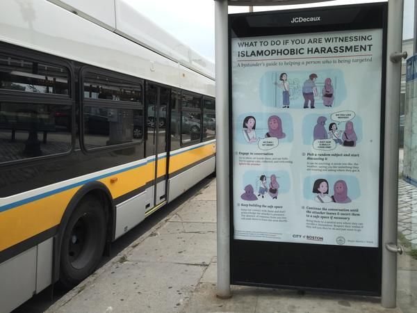 New signs in Boston encourage bystanders to intervene if they see Muslims being harassed.