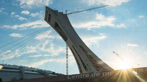 Montreal's iconic Olympic Stadium, photographed in 2012, is now providing housing for newly arrived asylum seekers entering Canada from the U.S.