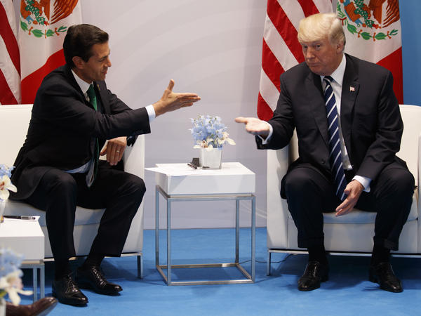 President Trump meets with Mexican President Enrique Peña Nieto at the Group of 20 summit in Hamburg, Germany, in July. Trump is pushing to renegotiate the North American Free Trade Agreement among their countries and Canada.