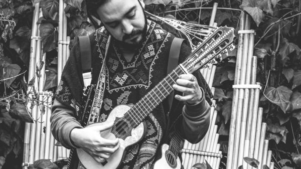 Chilean musician Rodrigo Gallardo, who collaborated with French-Ecuadorian electronic artist Nicola Cruz for a new EP, <em>El Origen</em>.