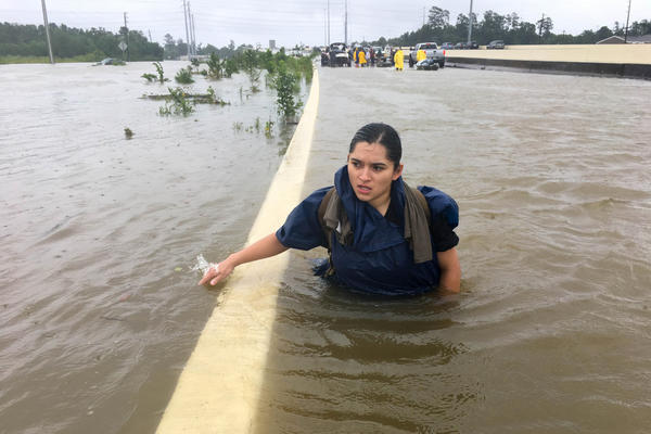 Spc. Andrea Villela, from Fort Hood, took emergency leave to try to find her family that is stranded in Houston. At this time, she can not reach her family, so she is doing water rescues until she can meet up with them.