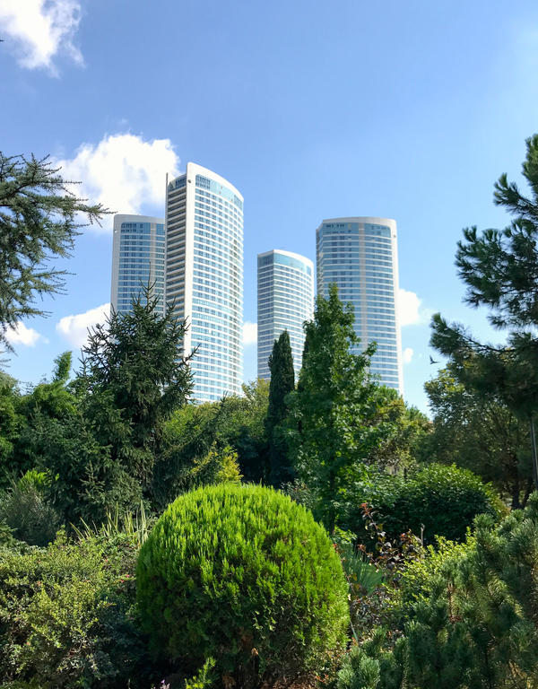 Four high rises loom over an Istanbul park. The land they sit on was designated as an evacuation zone after the 1999 quake. But it was sold to developers.