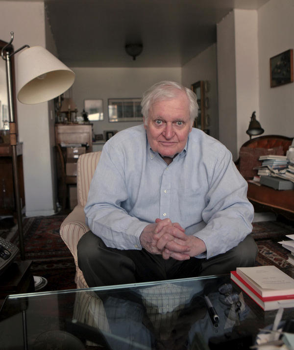 Poet John Ashbery, seen here in his New York apartment in 2008, is widely regarded as one of the 20th century's greatest poets. He died at the age of 90 on Sunday, at his home in Hudson, N.Y.