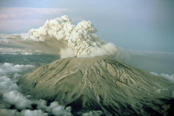 Mount St. Helens in Washington state is shown in various stages of eruption on May 18, 1980.