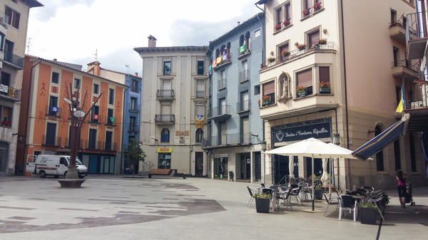 Town square in Ripoll, north of Barcelona, where a dozen suspects in last month's attacks grew up.