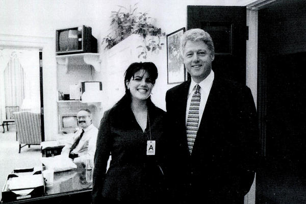 This photo of White House intern Monica Lewinsky meeting President Bill Clinton at the White House was submitted as evidence in documents included in the Ken Starr investigation and released by the House Judiciary Committee on Sept. 21, 1998.