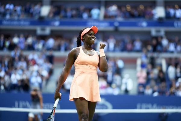 Sloane Stephens of the U.S. celebrates after defeating compatriot Madison Keys during their Women's Singles final match at the 2017 U.S. Open.