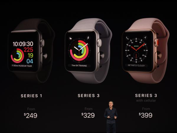 Apple Chief Operating Officer Jeff Williams describes the new version of the Apple Watch at Apple's new headquarters in Cupertino, Calif.