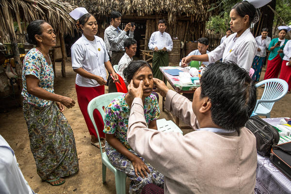 People who have had contact with a person with leprosy are screened in Nyaung U, Myanmar. If it is discovered early, the disease is curable. But once nerve damage has set in, even if the disease is cured in the patient, the nerve damage cannot be undone.