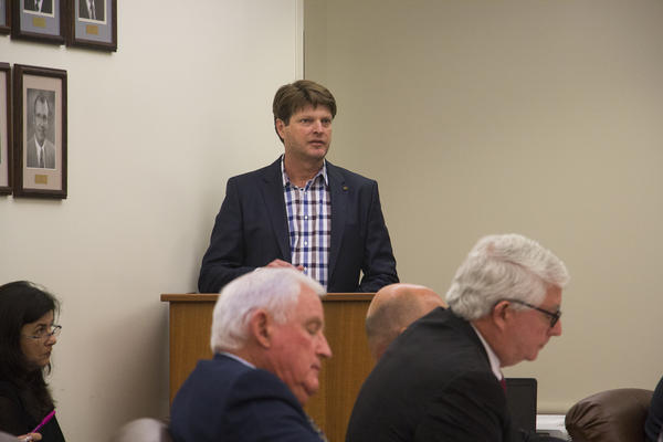 Ty Vaughn, a top Monsanto executive, speaking to the Arkansas State Plant Board meeting this week.
