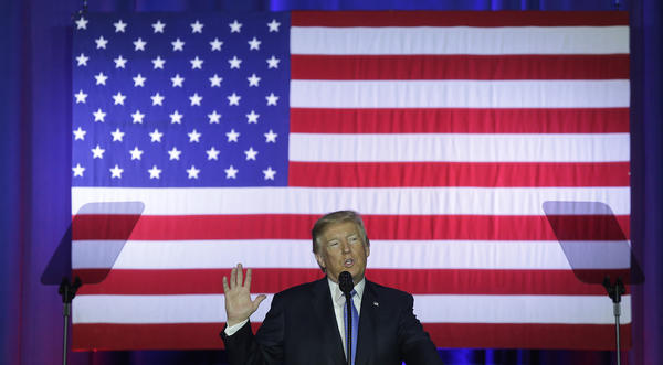 President Trump speaks about the Republican tax plan Wednesday at the Indiana State Fairgrounds in Indianapolis.
