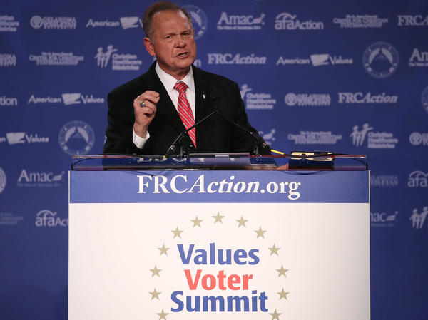 Roy Moore, GOP Senate candidate and former chief justice on the Alabama Supreme Court, speaks during the annual Values Voter Summit earlier this month in Washington, D.C.