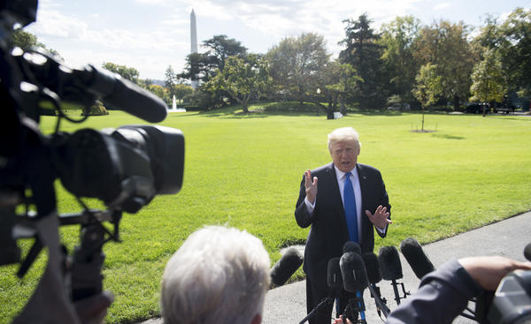 Speaking to the media prior to departing from the White House on Wednesday, President Trump repeated his theory that the Russia collusion story is a hoax.