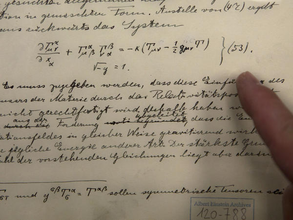 The original historical documents related to Albert Einstein's prediction of the existence of gravitational waves are seen at the Hebrew University in Jerusalem on Feb. 11, 2016.