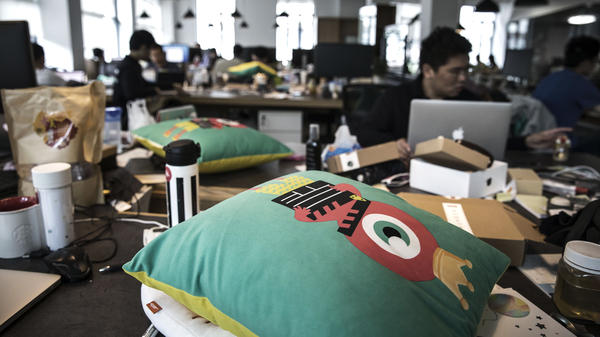 Musical.ly, which is based in Shanghai, is being acquired by Bytedance, an artificial intelligence-focused Chinese technology company. In the foreground, the mascot for Live.ly, a live-streaming app.