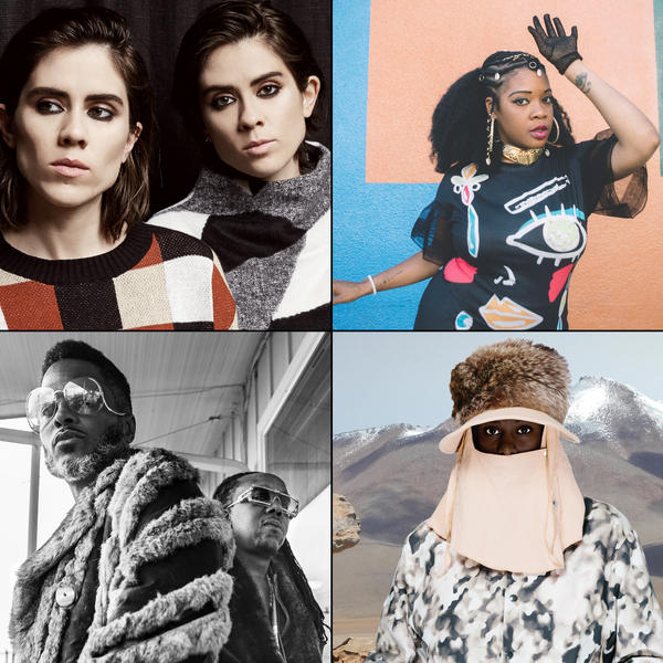 Clockwise from top left: Tegan and Sara, Jimetta Rose, Perera Elsewhere, Shabazz Palaces.