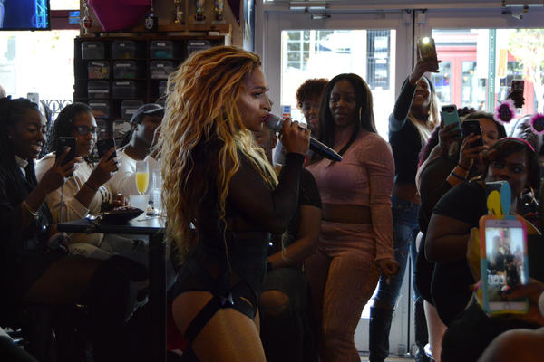 "Knoxx performs ""Crazy In Love"" at Nellie's Sports Bar in Washington, D.C. She says it's still her favorite song to perform."
