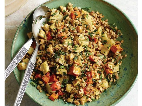 Roasted root vegetables and farro salad