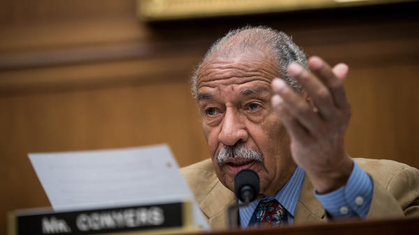 Rep. John Conyers, D-Mich., speaks during a House Judiciary Committee hearing last month. On Sunday, Conyers announced he would be stepping down from his ranking position on the committee — though he continued to deny sexual misconduct allegations against him.