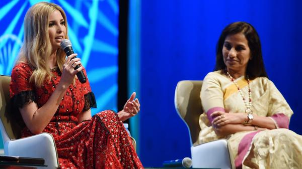 Ivanka Trump (left) speaks as Chanda Kochhar, managing director and CEO of ICICI Bank, looks on, during a panel discussion at the Global Entrepreneurship Summit in Hyderabad on Wednesday.