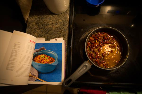 A pot of<em> rajma</em>, a bean stew from the north of India, cooks on the stove. It's one of the recipes included in the new cookbook <em>Bollywood Kitchen.</em>
