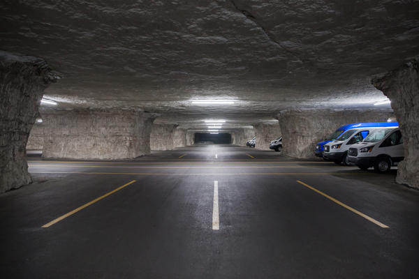 SubTropolis, a 55 million-square-foot limestone cave which houses a range of businesses underground in Kansas City. (Dean Russell/Here & Now)