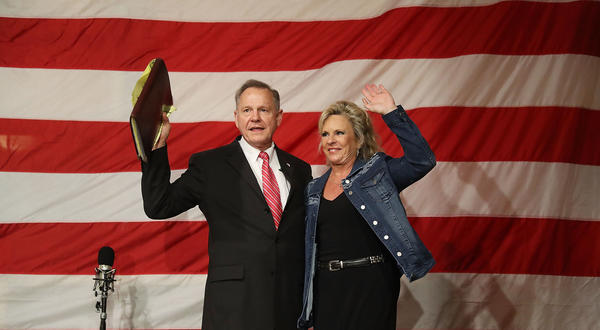 Alabama Republican senatorial candidate Roy Moore and his wife, Kayla, at a campaign event at Oak Hollow Farm in Fairhope, Ala., on Dec. 5.