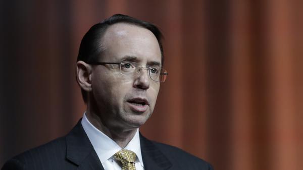 U.S. Deputy Attorney General Rod Rosenstein addresses the North American International Cyber Summit, in October.