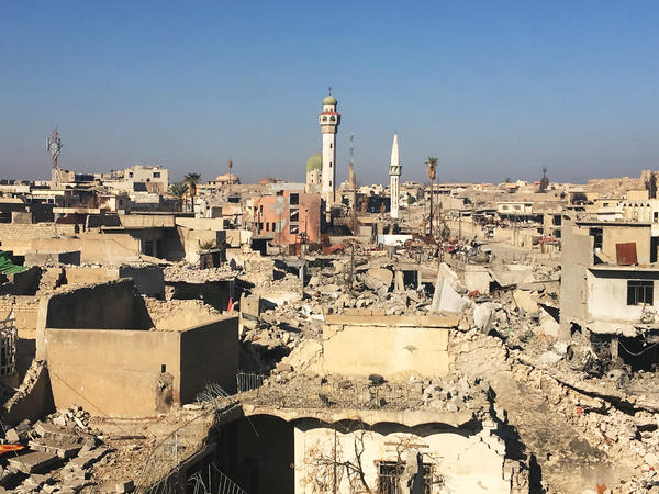 Destruction in the old section of west Mosul. Mosul was Iraq's second biggest city. Many of the historical buildings were destroyed either by ISIS or in the fighting to drive them out.