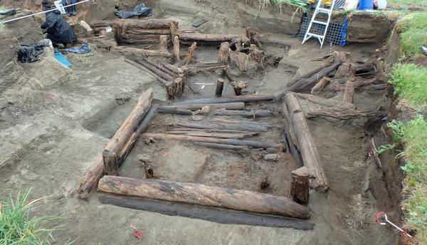 Archaeologists are excavating an ancient cabin at the Rising Whale site.