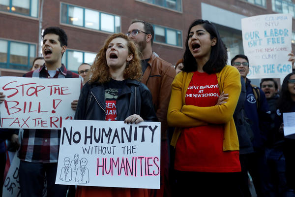 Graduate students rally against the proposed GOP tax reform bill at Union Square in New York City on Nov. 29.