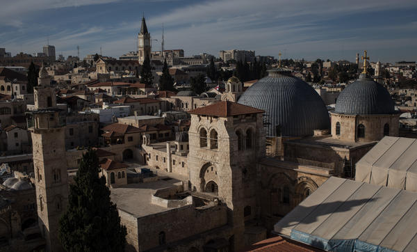 "The Church of the Holy Sepulchre is seen in the Old City in Jerusalem earlier this month. The ""final status"" of Jerusalem as a formal matter remains a major sticking point in negotiations at the heart of the Middle East peace process."