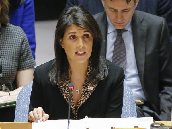 "U.S. Ambassador to the U.N. Nikki Haley speaks during a Security Council meeting on Monday. The Council voted on a resolution that expressed ""deep regret at recent decisions concerning the status of Jerusalem,"" without mentioning the U.S. by name."