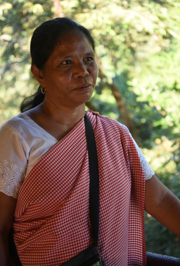 """Badapbiang Khongthiem, 50, says it's the villagers' love for Mawlynnog that brings the community together and keeps the village so clean. She says the tourists """"have made them even more conscious about beautifying their village."""""""