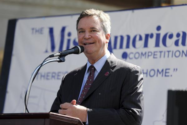 Sam Haskell, seen at the Miss America pageant arrival ceremonies last August, in Atlantic City, N.J., stepped down as CEO of Miss America Organization after emails leaked by <em>HuffPost</em> on Thursday implicated him among other top leaders in the abuse of former pageant contestants.